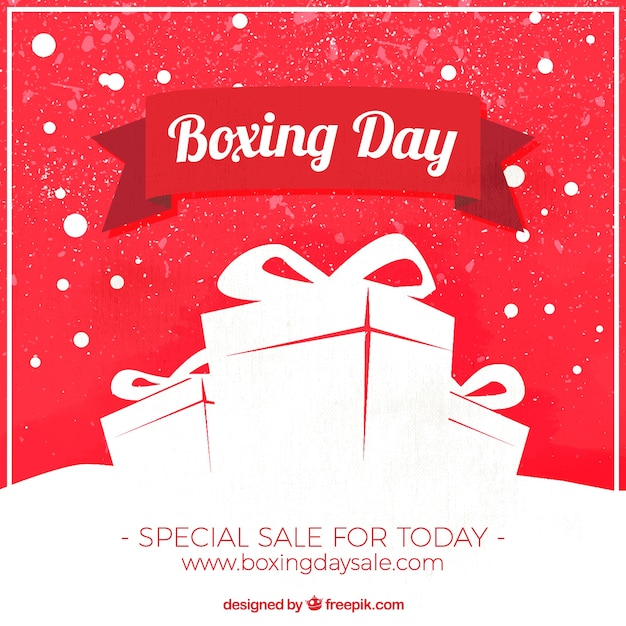 Vintage background with gifts for boxing\ day