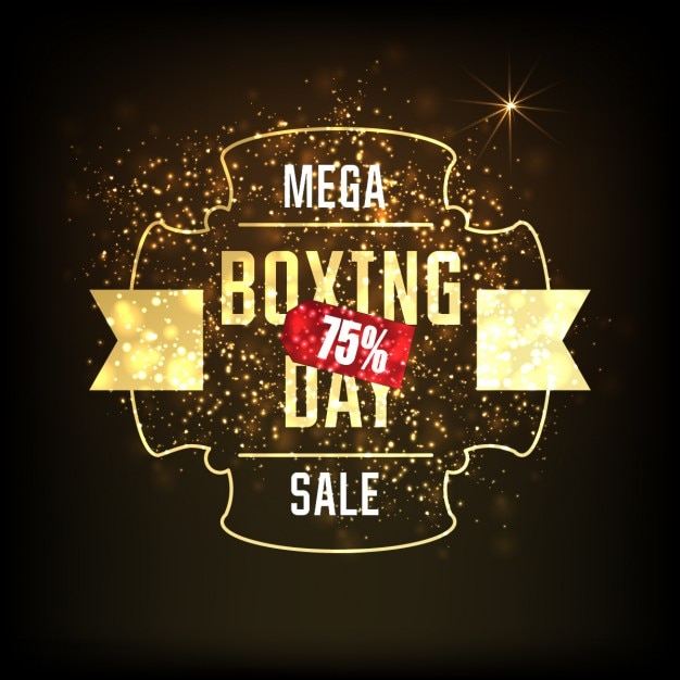 Vintage background with golden boxing day\ sticker