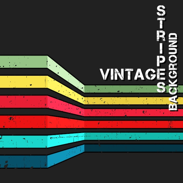 Vintage background with grunge colorful stripes Premium Vector