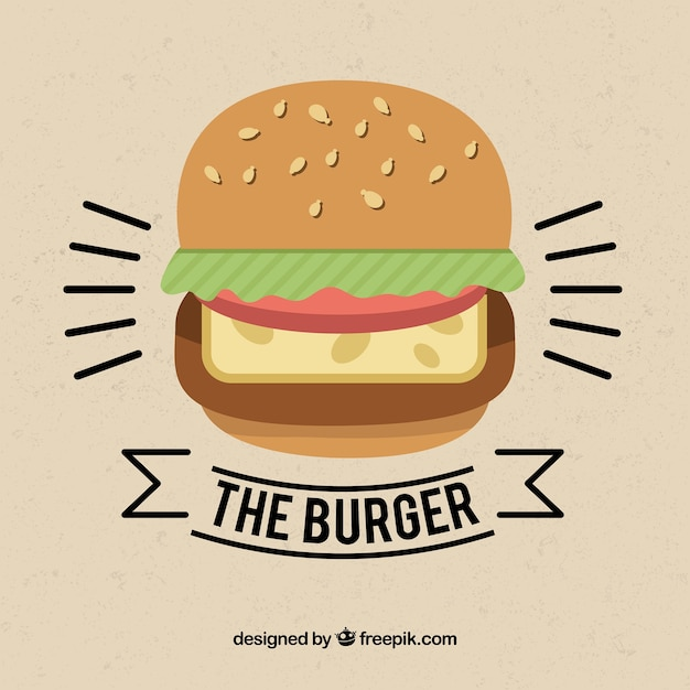 Vintage background with hamburger in minimalist style Free Vector