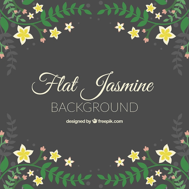 Vintage background with jasmine and leaves in flat design