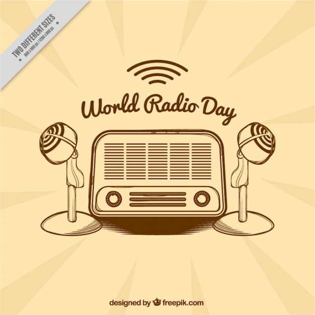 Vintage background with radio and microphones Free Vector