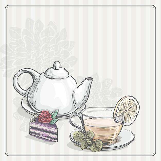 Старинный фон с чаем и тор Premium векторы