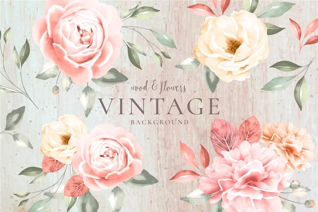 木材とロマンチックな花を持つビンテージ背景 無料ベクター