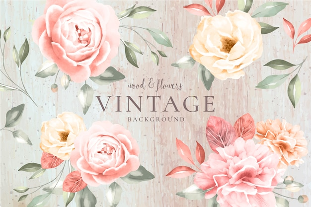 Vintage background with wood and romantic flowers Free Vector