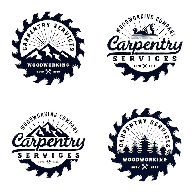 Vintage badge wood carpentry logo template with mountain element Premium Vector