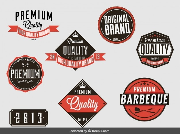 Vintage badges collection of premium quality Free Vector