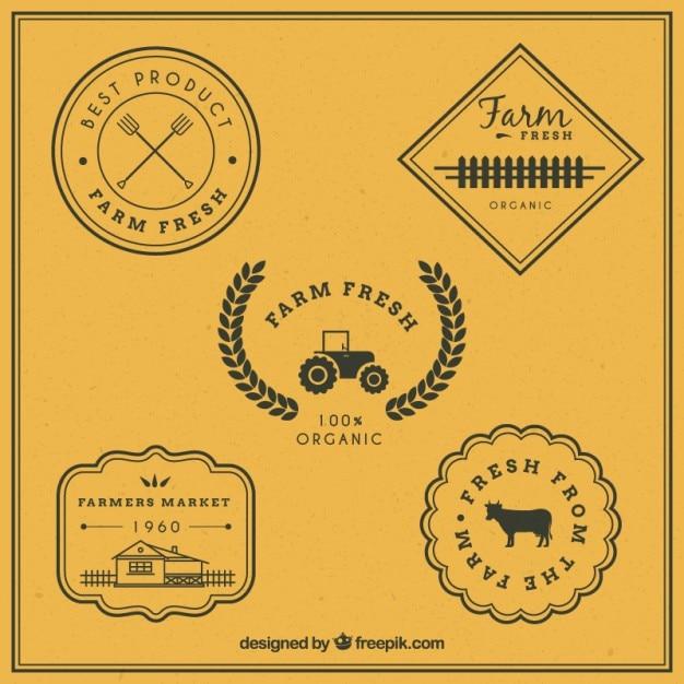 Vintage badges for farm Premium Vector