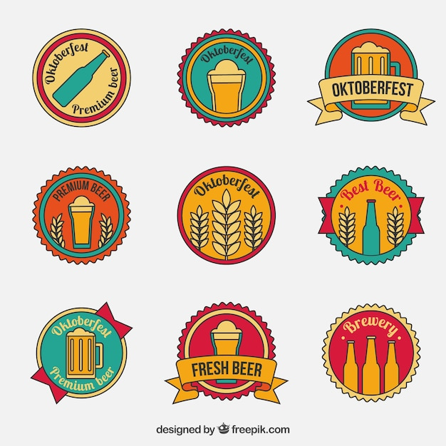 Vintage badges for Oktoberfest Vector | Free Download
