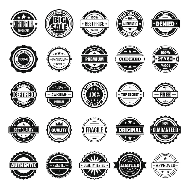 Vintage badges and labels stamp icons set Premium Vector
