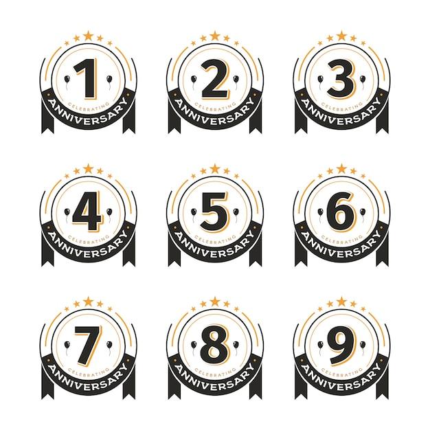Старинные значки набор шаблонов на день рождения Premium векторы