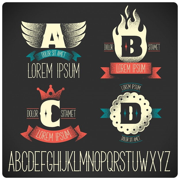 Modelli di badge vintage con set di alfabeto Vettore gratuito