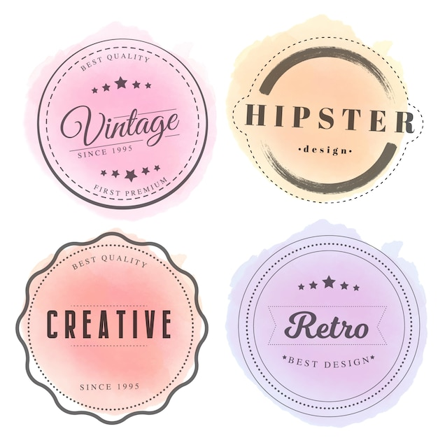 Vintage badges with watercolor Free Vector