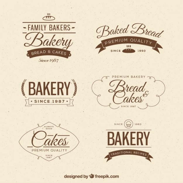 Vintage bakery badges in flat style Free Vector