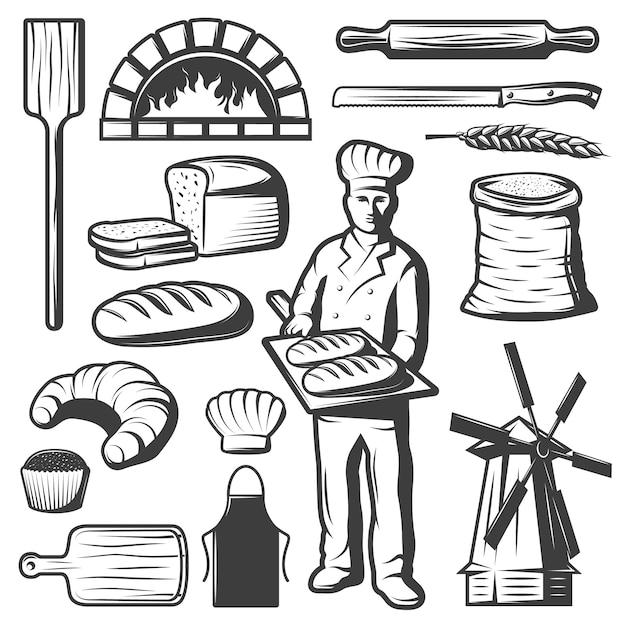 Set di elementi di panetteria vintage Vettore gratuito