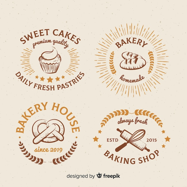 Vintage bakery logos collection Free Vector