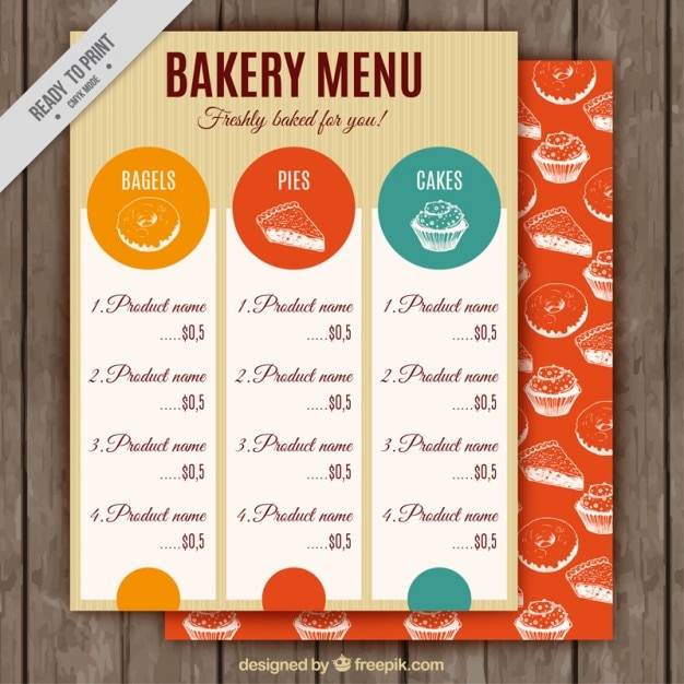 Vintage Bakery Menu Template Vector | Premium Download