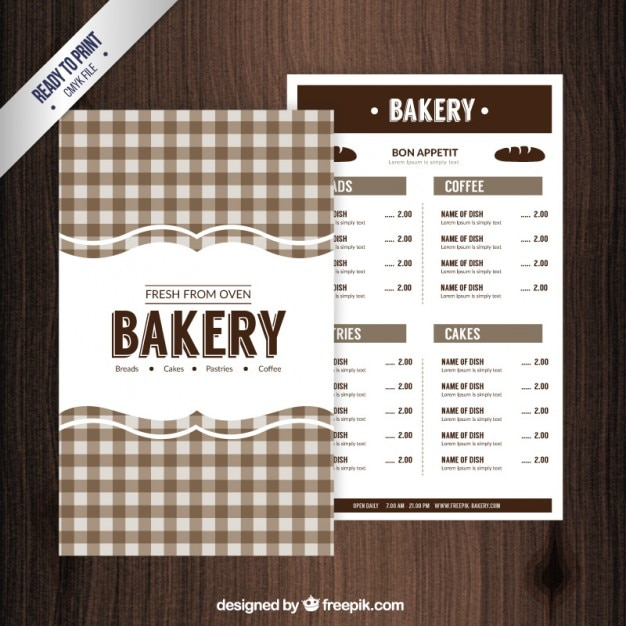 Vintage bakery menu with cloth drawn Free Vector