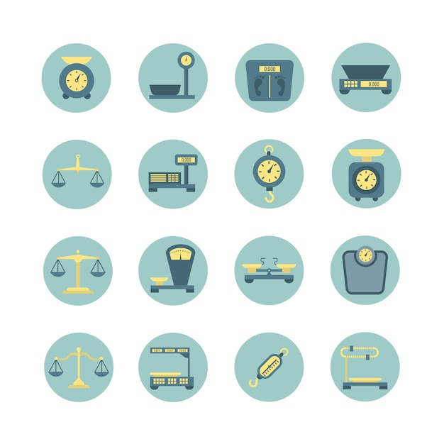 Vintage balance, electronic and mechanical scales, weight measurement flat vector icons Premium Vector
