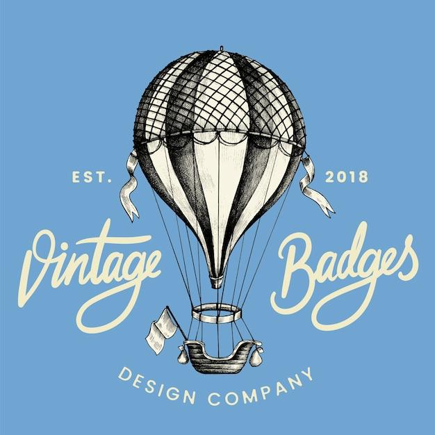 Vintage balloon logo design vector Free Vector