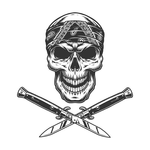 Cranio bandito vintage in bandana Vettore gratuito