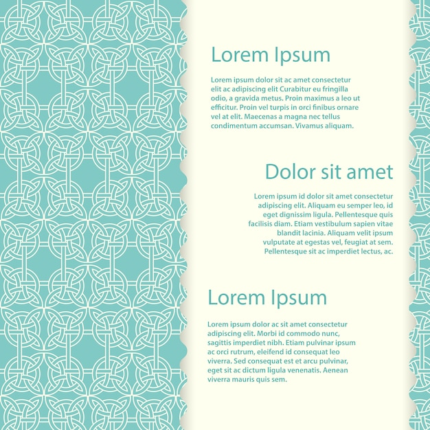 Vintage banner template with  celtic knots Premium Vector