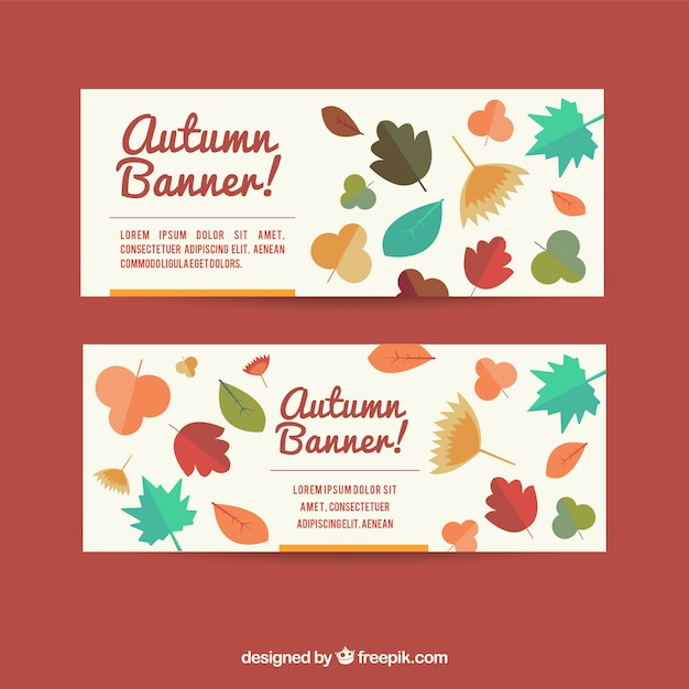 Vintage banners of autumn leaves in flat design