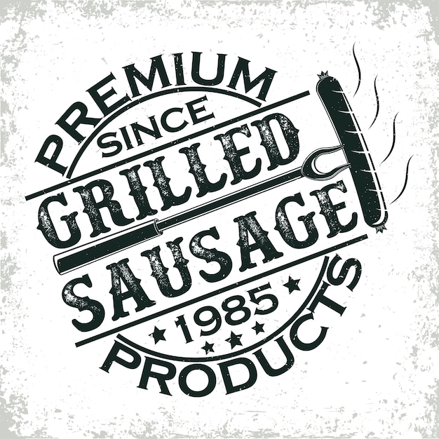 Vintage barbecue restaurant logo ,  grange print stamp, creative grill bar typography emblem, Premium Vector