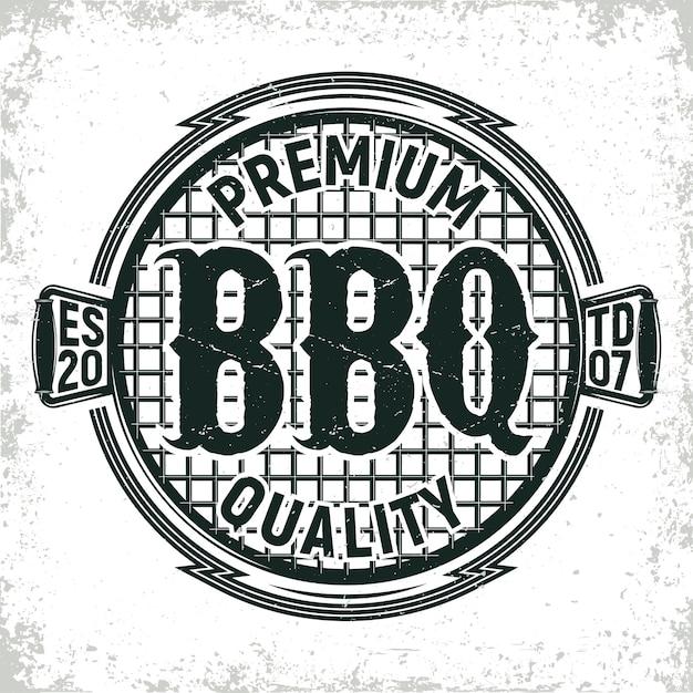 Винтажный логотип ресторана барбекю Premium векторы