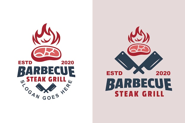 Vintage barbecue steak grilled logo two version Premium Vector