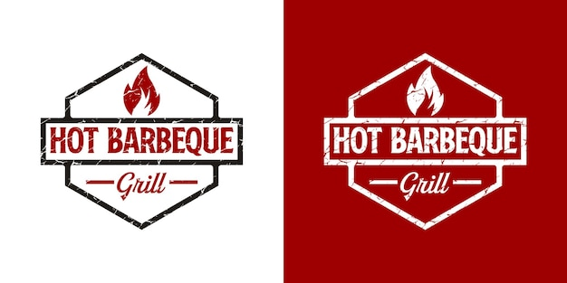 Vintage barbeque grill  logo design with badge Premium Vector
