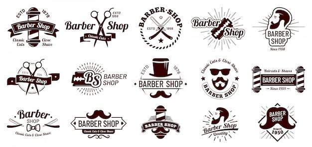 ビンテージの理髪店のバッジ。紳士の散髪スタイリング、理髪店のかみそり、ひげそりサロン。マン髪散髪バッジイラストセット Premiumベクター