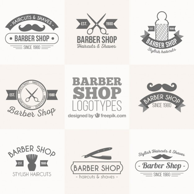 Vintage barber shop logos set