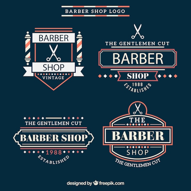 Vintage barber shop logos with red details