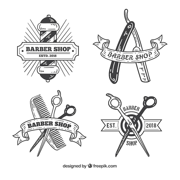 Vintage barber shop logos Free Vector