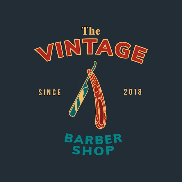 Vintage barber shop text design vector Free Vector