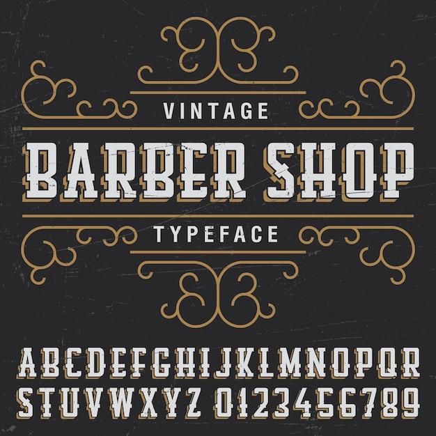 Manifesto di carattere tipografico del negozio di barbiere vintage con disegno di etichetta di esempio sul nero Vettore gratuito