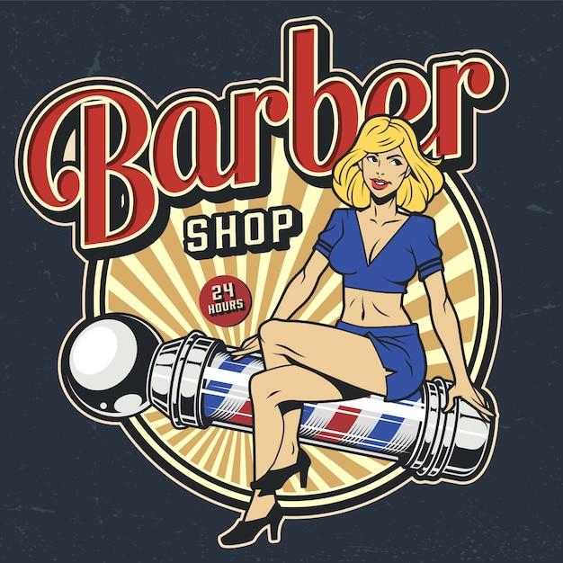 Distintivo colorato barbiere vintage Vettore gratuito