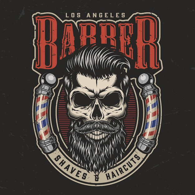 Vintage barbershop colorful print Free Vector