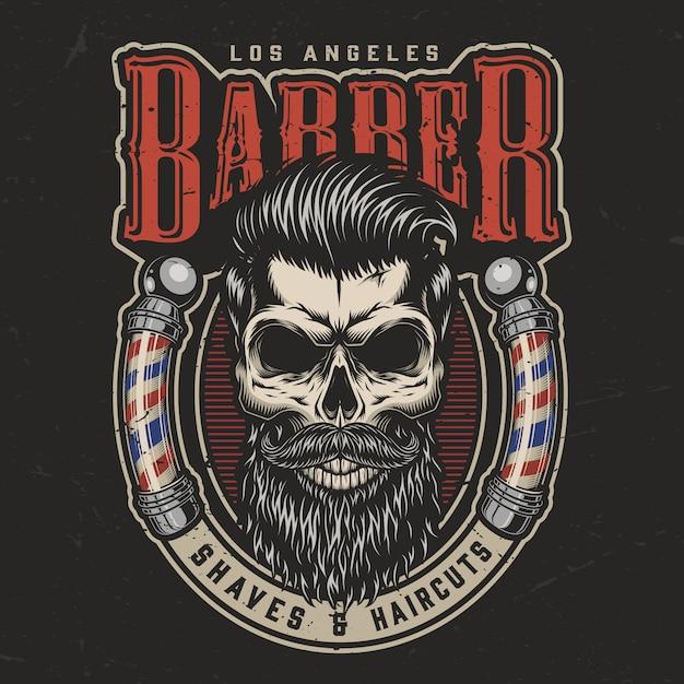 Stampa colorata da barbiere vintage Vettore gratuito