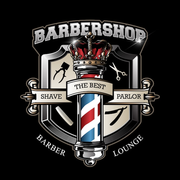 Vintage barbershop emblem Premium Vector