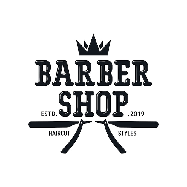 Vintage barbershop logo templates Premium Vector