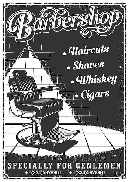Урожай постер с парикмахерской стул Premium векторы