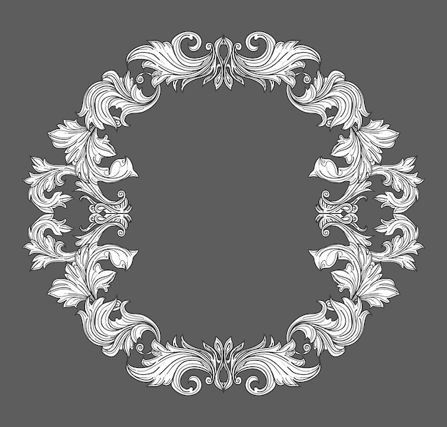 Vintage baroque frame border with leaf scroll floral ornament in line style. frame floral, decorative vintage frame,  baroque frame. vector illustration Free Vector