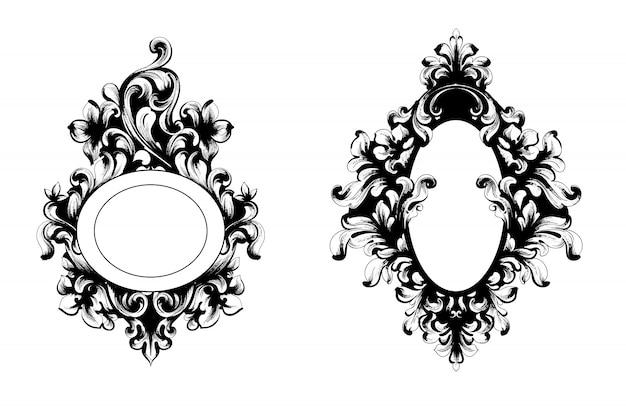 Vintage baroque mirror frame collection Premium Vector