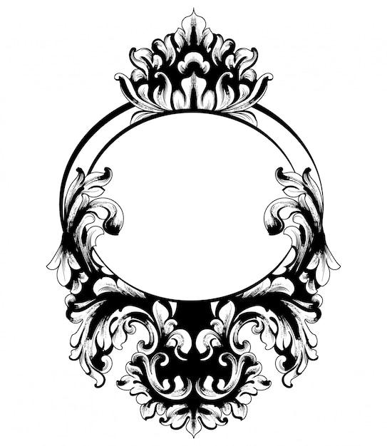 Vintage baroque mirror frame Premium Vector