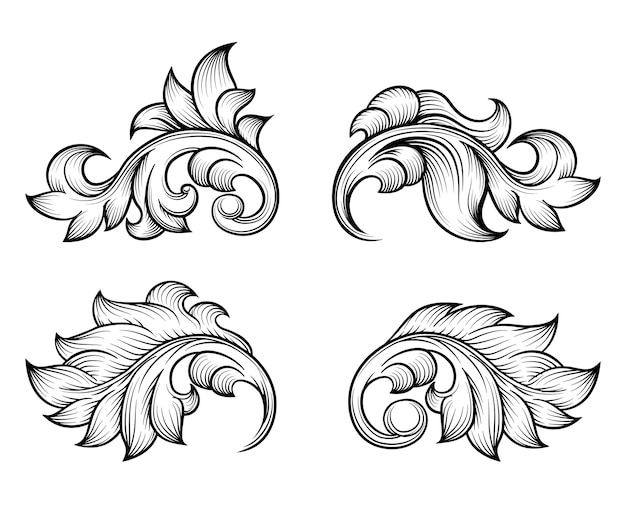 Vintage baroque scroll leaf set in engraving style element, ornate decoration, filigree floral. Free Vector