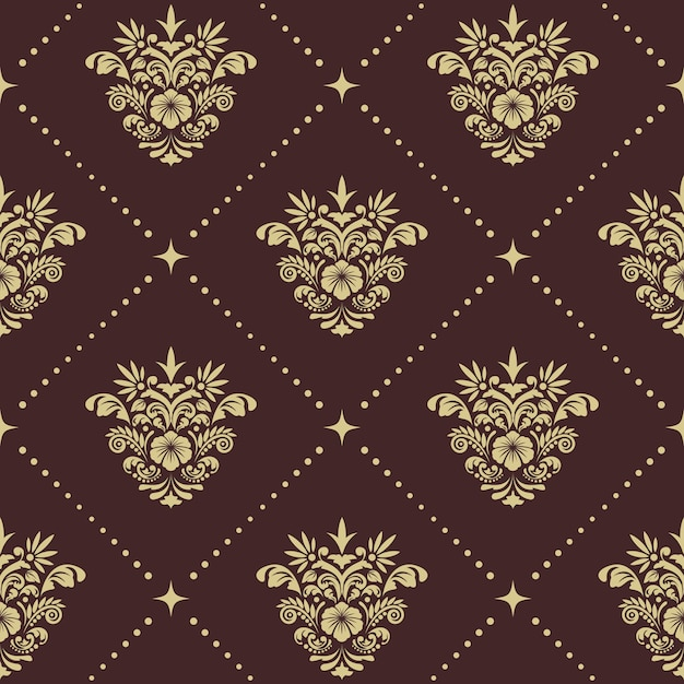Винтаж барокко бесшовные модели. орнамент в стиле ренессанс для шелковых штор, Бесплатные векторы