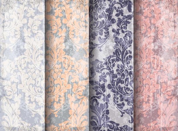 Vintage baroque victorian pattern set Premium Vector