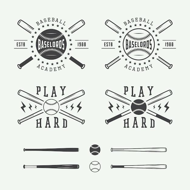 Vintage baseball logos Premium Vector
